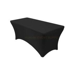 เช่าโต๊ะหน้าขาวคลุมผ้าดำตึงเข้ารูป 1.8