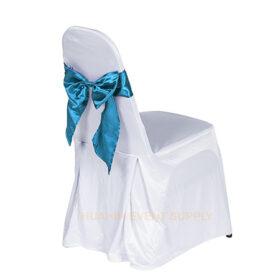 เช่าเก้าอี้นวมคลุมผ้าขาวโบว์ฟ้า