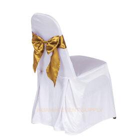 เช่าเก้าอี้นวมคลุมผ้าขาวโบว์ทอง