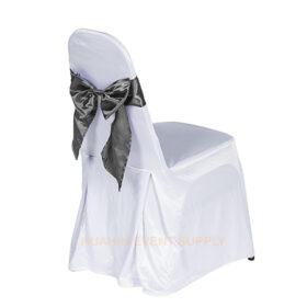 เช่าเก้าอี้นวมคลุมผ้าขาวโบว์เทา