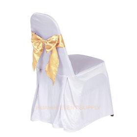 เช่าเก้าอี้นวมคลุมผ้าขาวโบว์ทองอ่อน