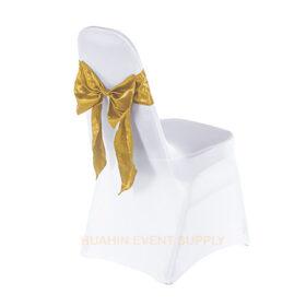 เช่าเก้าอี้นวมคลุมผ้าขาวตึงเข้ารูปโบว์ทอง