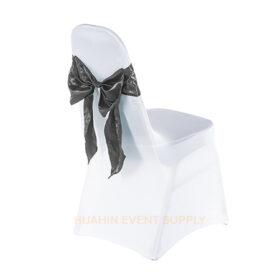 เช่าเก้าอี้นวมคลุมผ้าขาวตึงเข้ารูปโบว์เทา